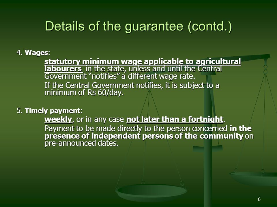 Details of the guarantee (contd.)