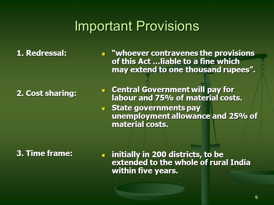 Important Provisions 1. Redressal: 2. Cost sharing: 3. Time frame: