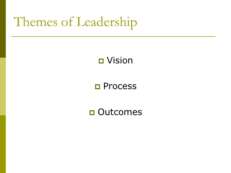 Themes of Leadership Vision Process Outcomes