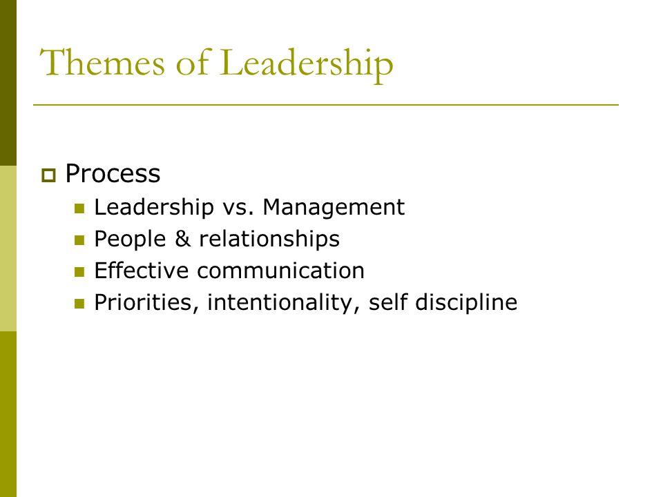 Themes of Leadership Process Leadership vs. Management