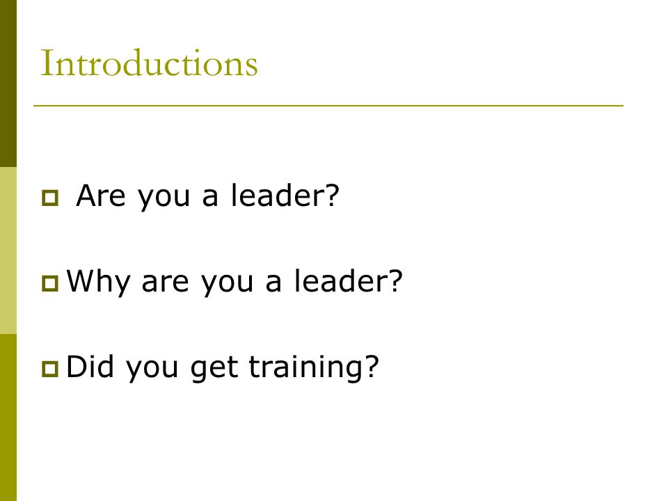 Introductions Are you a leader Why are you a leader