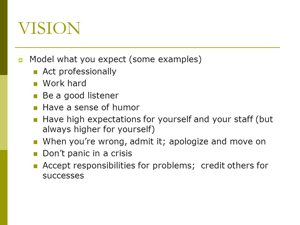 VISION Model what you expect (some examples) Act professionally