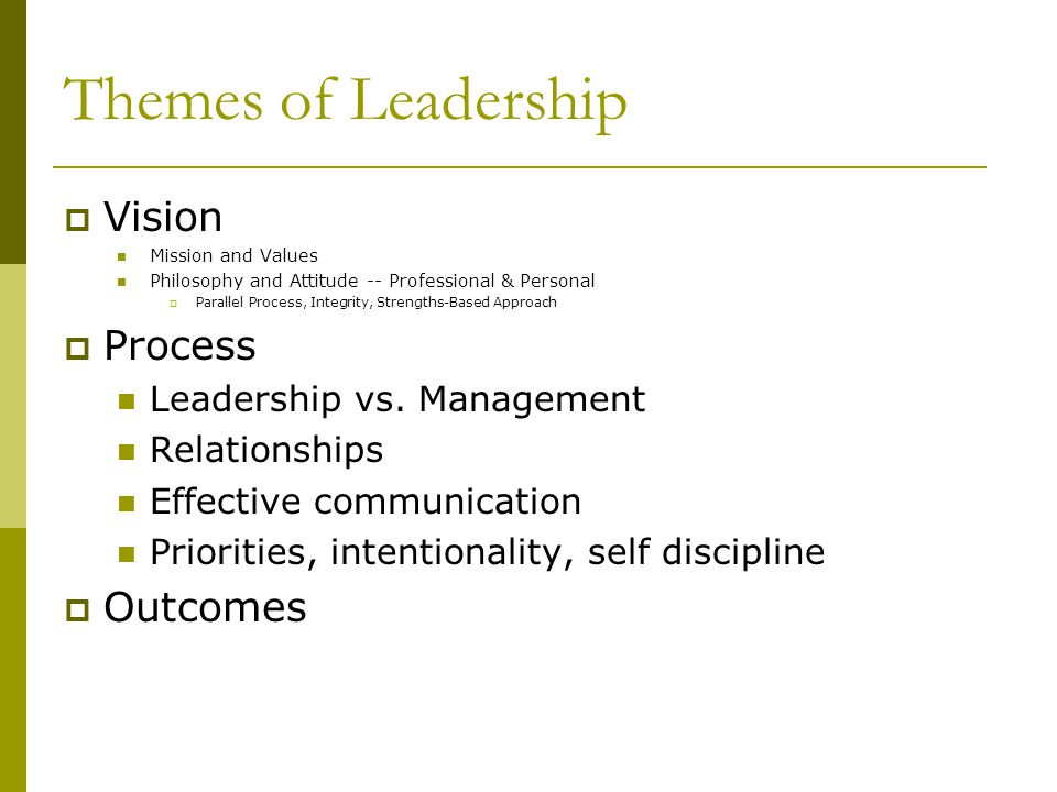 Themes of Leadership Vision Process Outcomes Leadership vs. Management