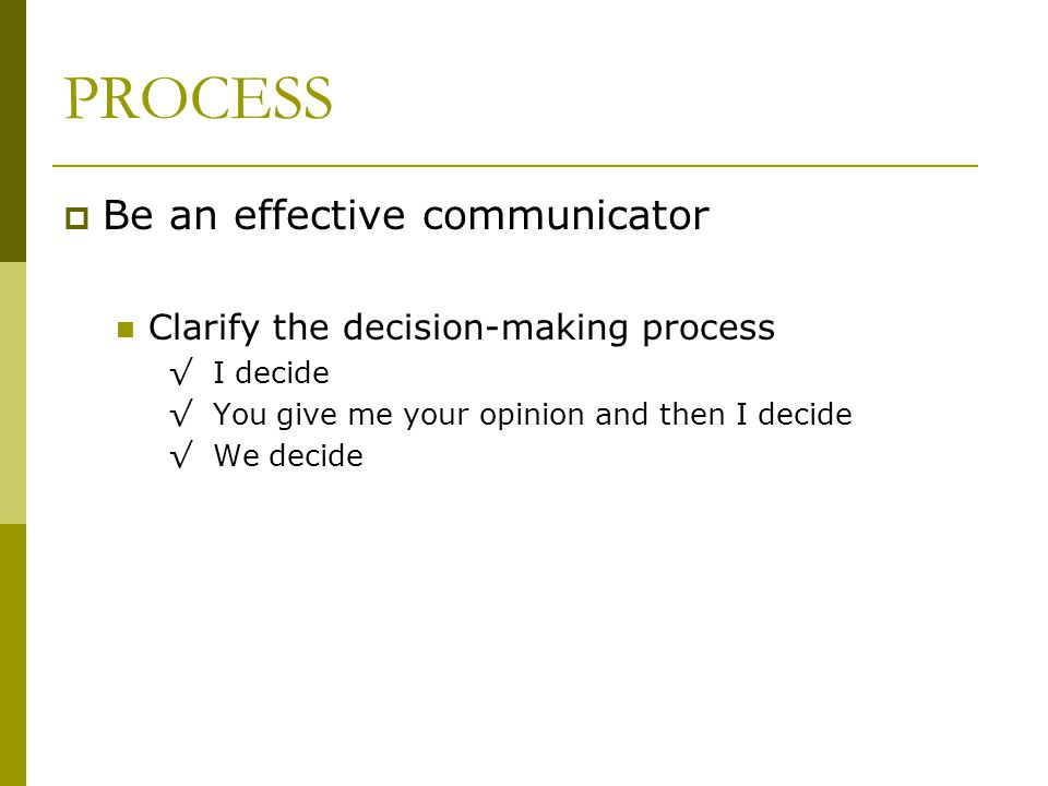 PROCESS Be an effective communicator