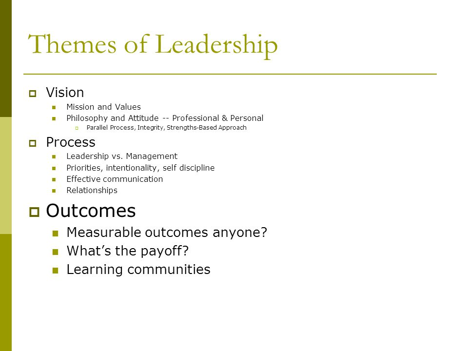 Themes of Leadership Outcomes Vision Process