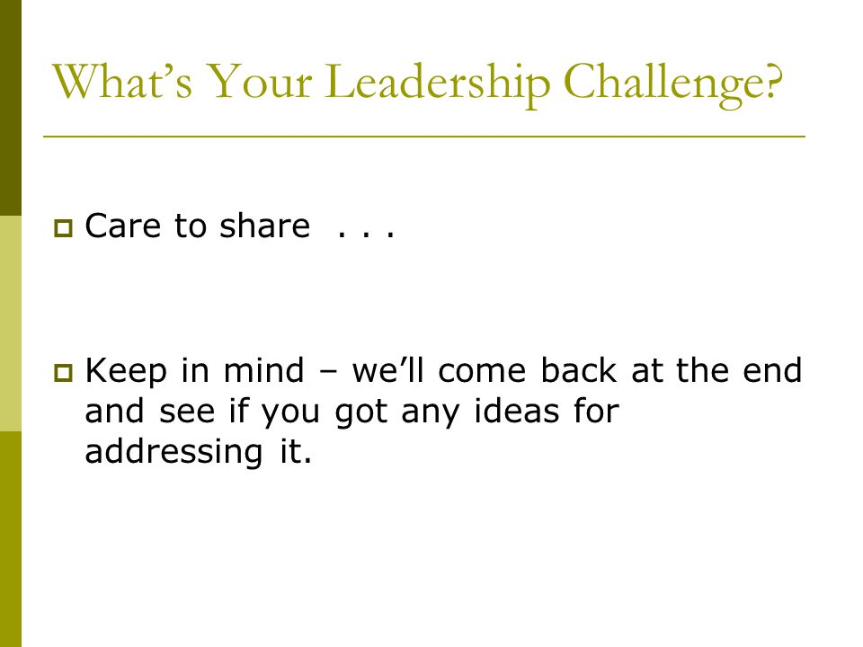 What's Your Leadership Challenge