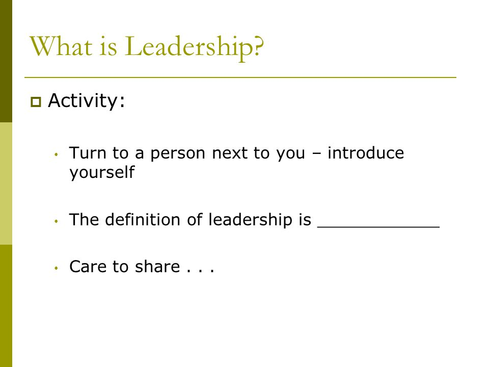 What is Leadership Activity:
