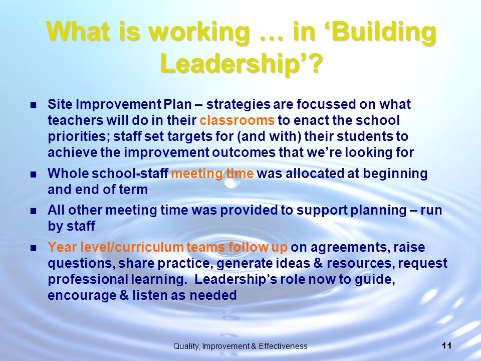 What is working … in 'Building Leadership'