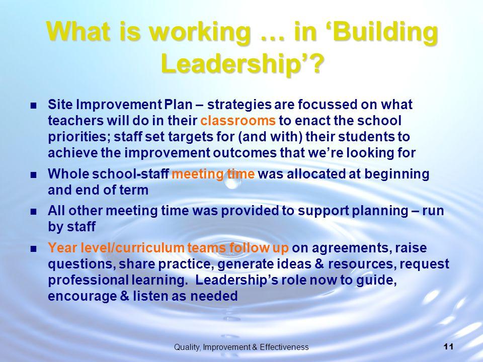 What is working … in 'Building Leadership'