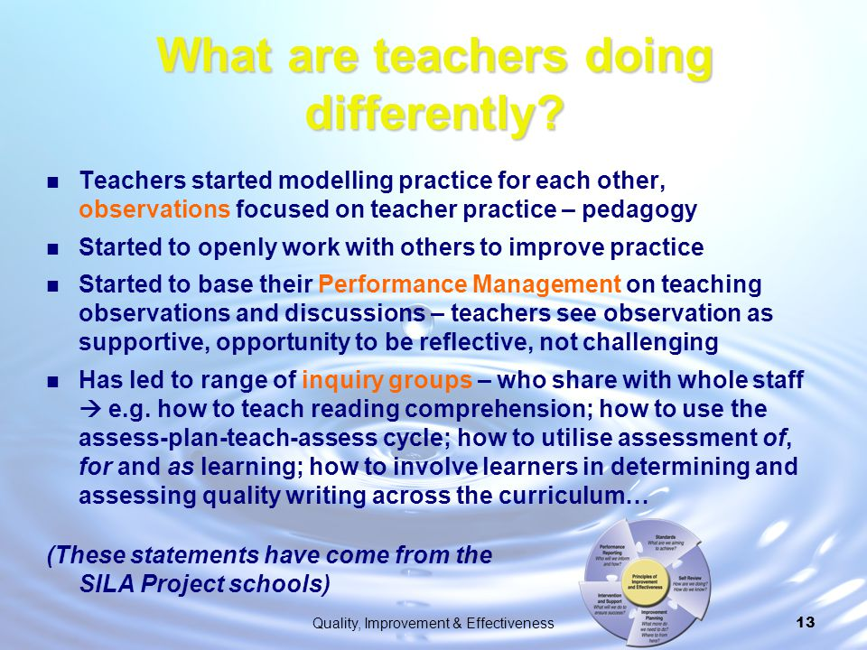 What are teachers doing differently