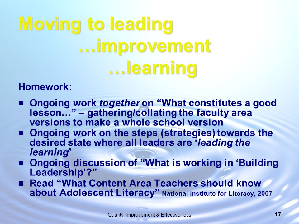 Moving to leading …improvement …learning