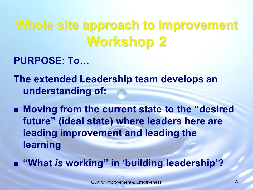 Whole site approach to improvement Workshop 2