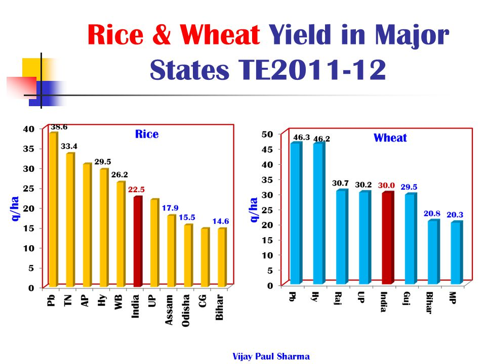Rice & Wheat Yield in Major States TE2011-12