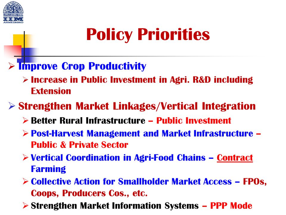 Policy Priorities Improve Crop Productivity