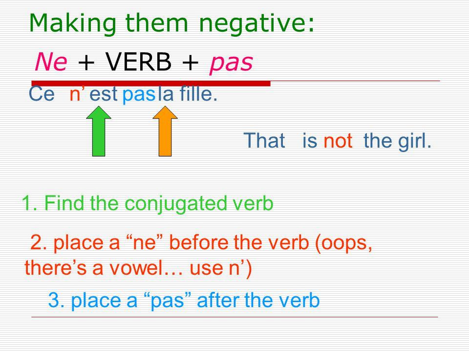 Making them negative: Ne + VERB + pas Ce est la fille. n' pas