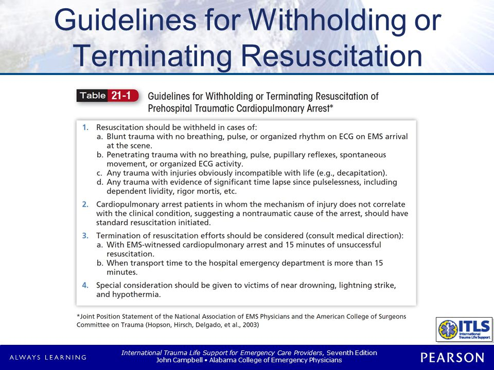 Causes and Treatment of Traumatic Cardiopulmonary Arrest (TCPA)