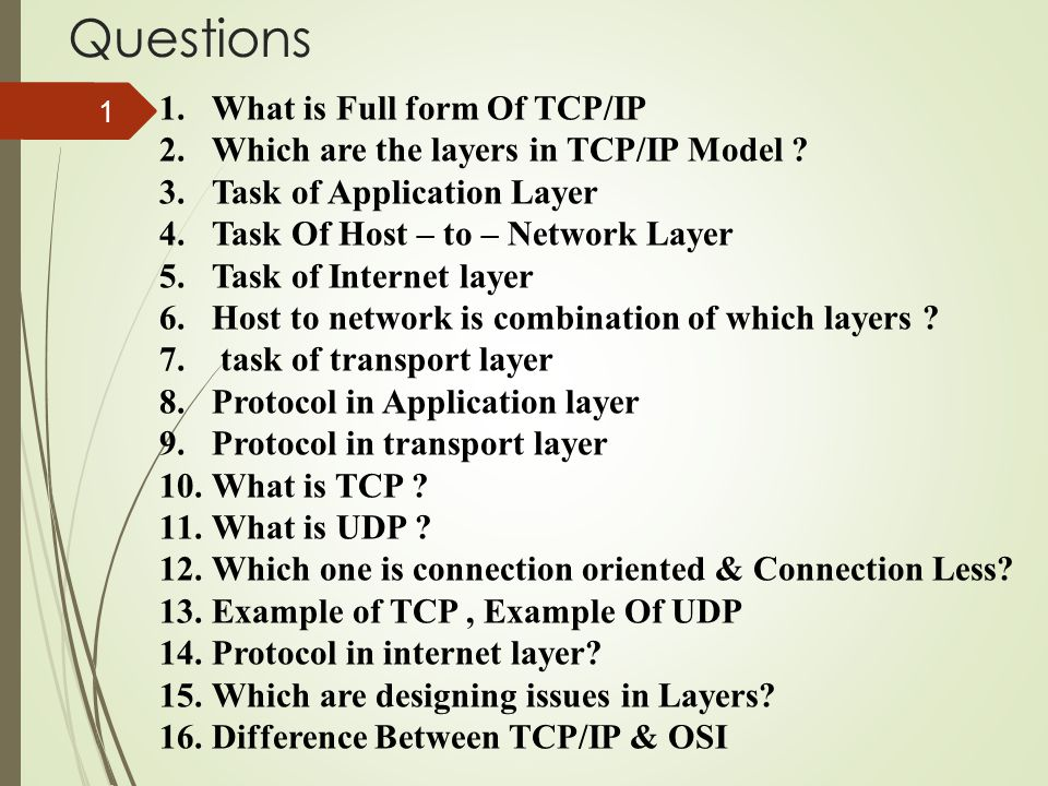 Questions What is Full form Of TCP/IP