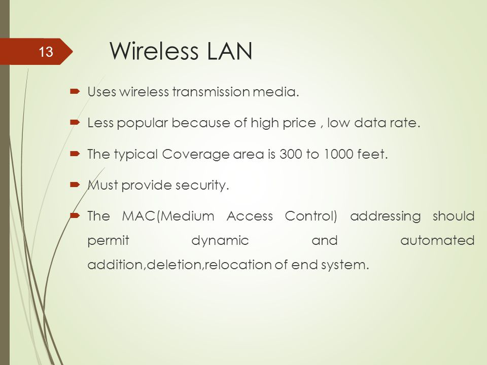 Wireless LAN Uses wireless transmission media.
