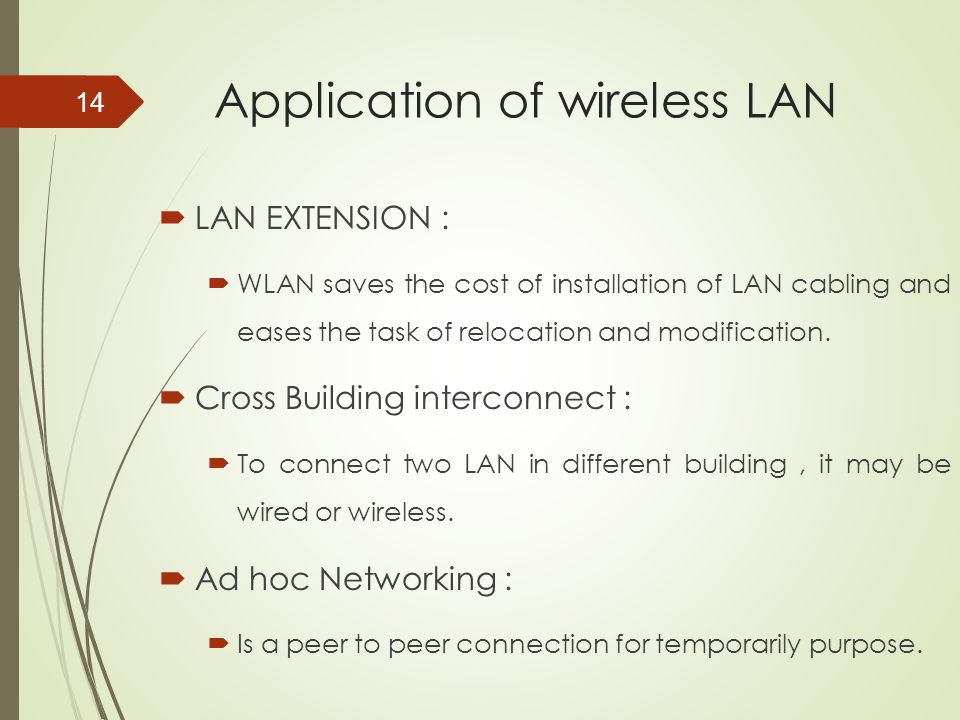 Application of wireless LAN