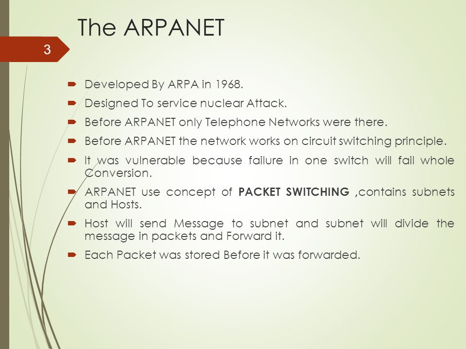 The ARPANET Developed By ARPA in 1968.