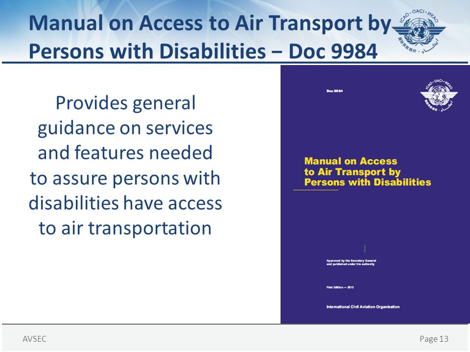 Manual on Access to Air Transport by Persons with Disabilities − Doc 9984