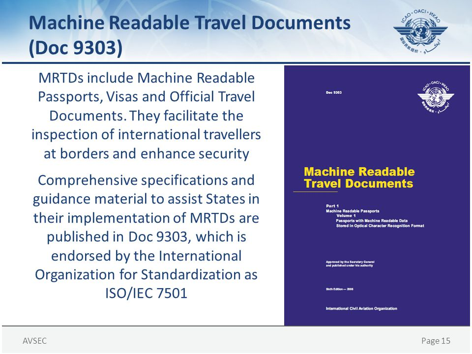 Machine Readable Travel Documents (Doc 9303)