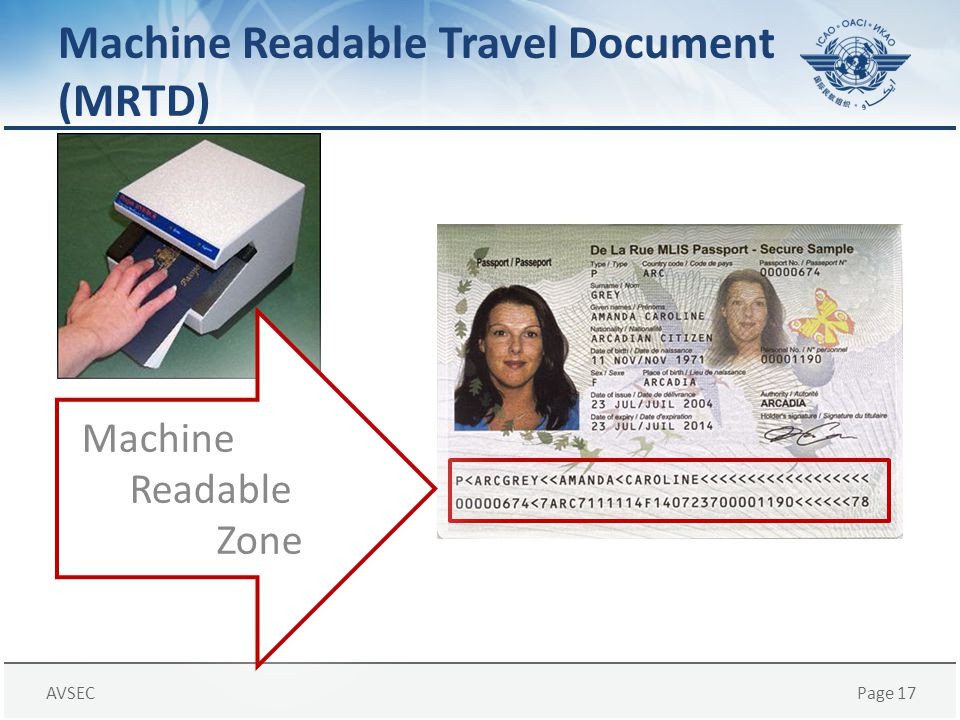 Machine Readable Travel Document (MRTD)