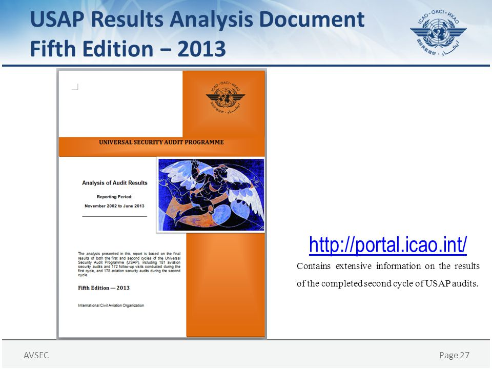 USAP Results Analysis Document Fifth Edition − 2013