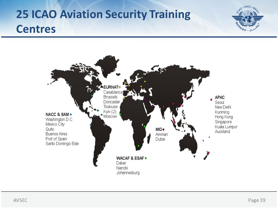 25 ICAO Aviation Security Training Centres