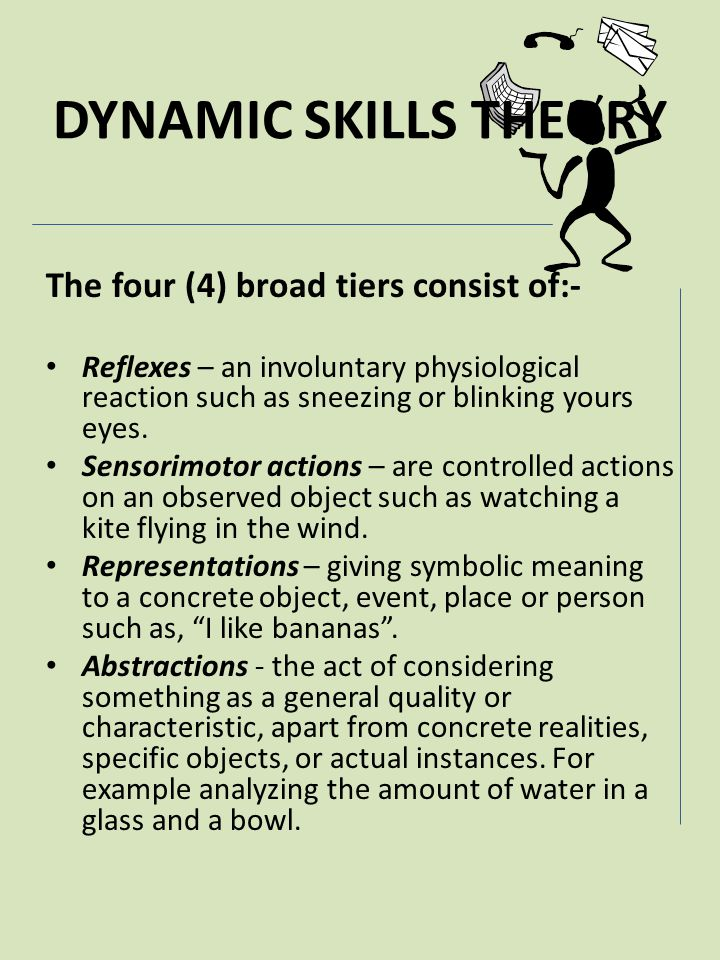 DYNAMIC SKILLS THEORY The four (4) broad tiers consist of:-