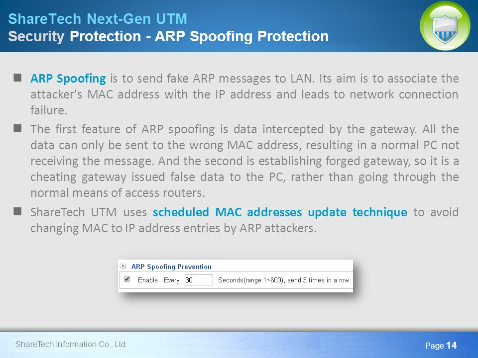 ShareTech Next-Gen UTM Security Protection - ARP Spoofing Protection