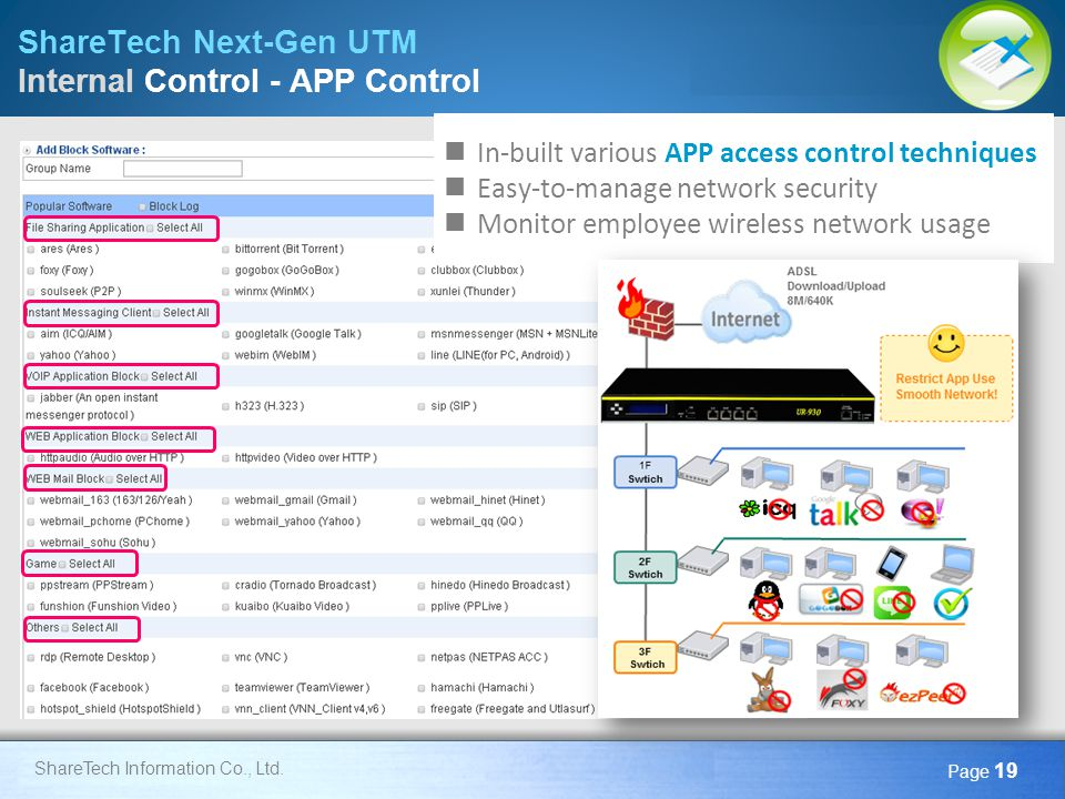 ShareTech Next-Gen UTM Internal Control - APP Control