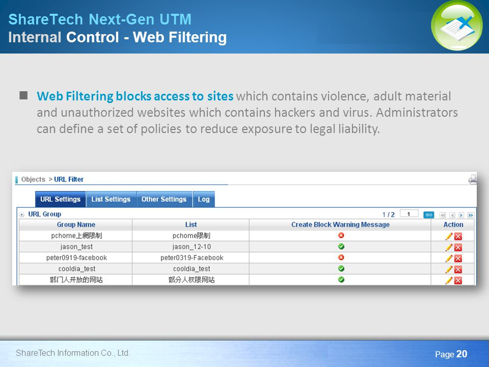 ShareTech Next-Gen UTM Internal Control - Web Filtering