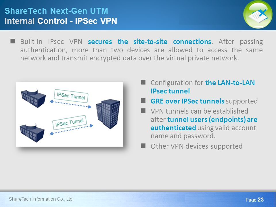ShareTech Next-Gen UTM Internal Control - IPSec VPN