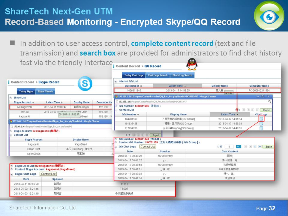 ShareTech Next-Gen UTM Record-Based Monitoring - Encrypted Skype/QQ Record