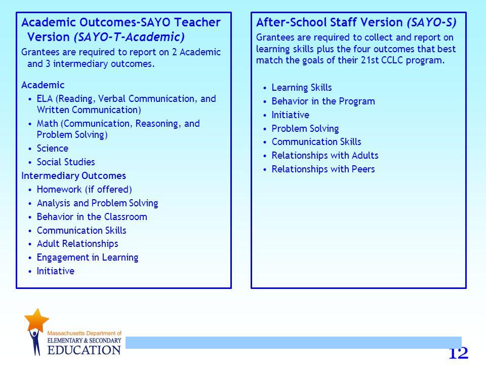 Academic Outcomes-SAYO Teacher Version (SAYO-T-Academic)