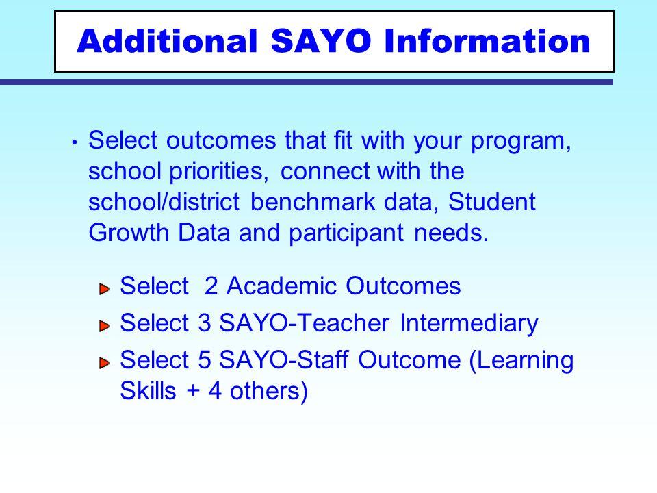 Additional SAYO Information