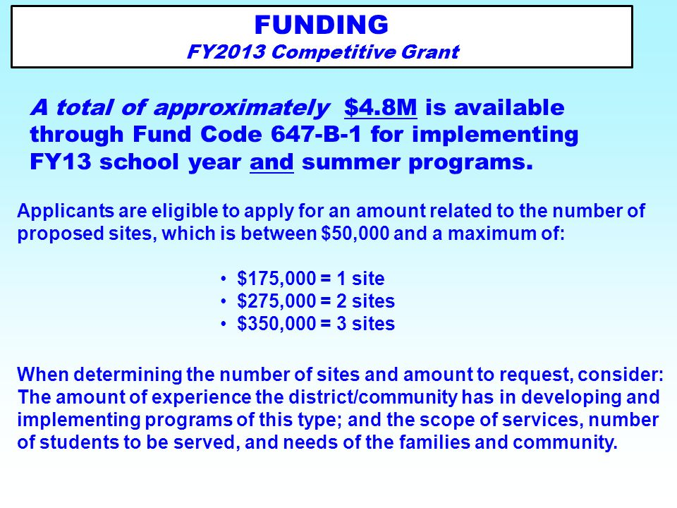 FUNDING FY2013 Competitive Grant.