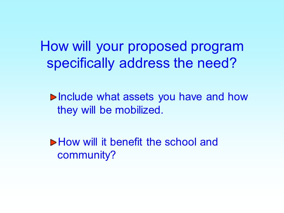 How will your proposed program specifically address the need