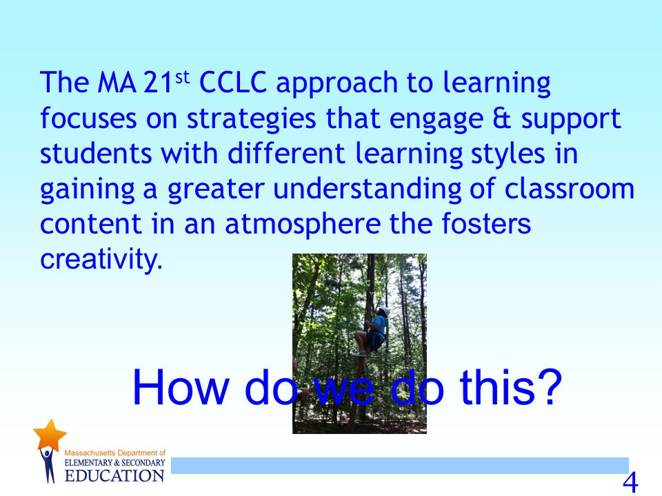 The MA 21st CCLC approach to learning focuses on strategies that engage & support students with different learning styles in gaining a greater understanding of classroom content in an atmosphere the fosters creativity.