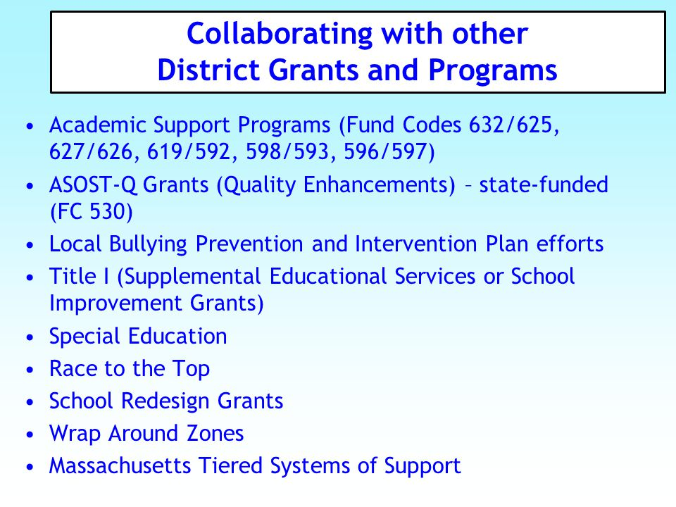 Collaborating with other District Grants and Programs