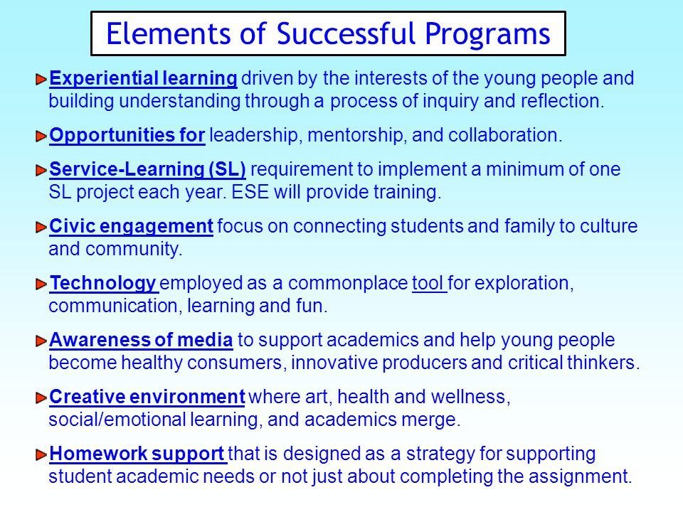 Elements of Successful Programs