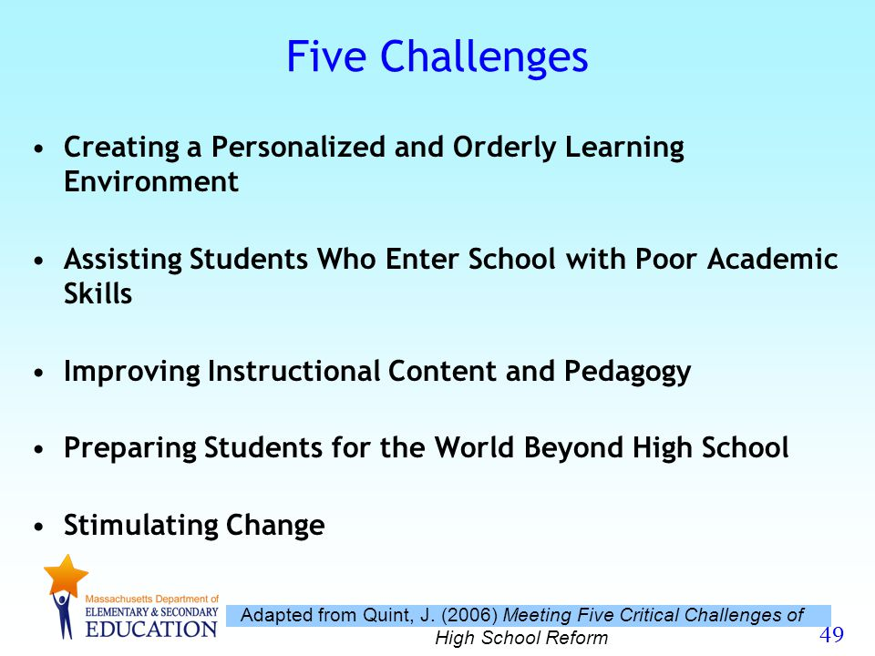 Five Challenges Creating a Personalized and Orderly Learning Environment. Assisting Students Who Enter School with Poor Academic Skills.