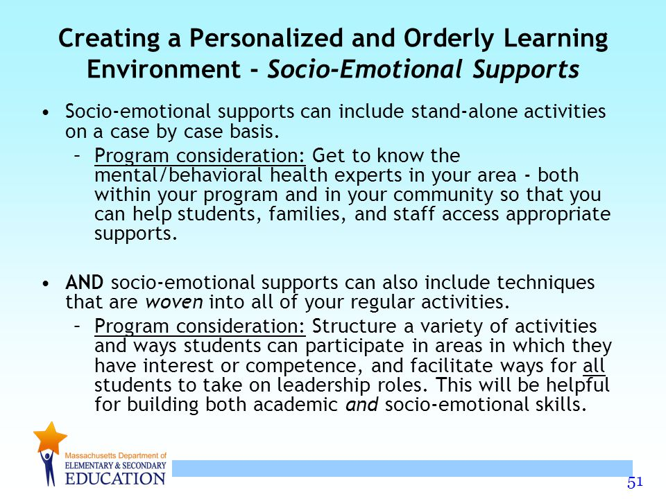 Creating a Personalized and Orderly Learning Environment - Socio-Emotional Supports