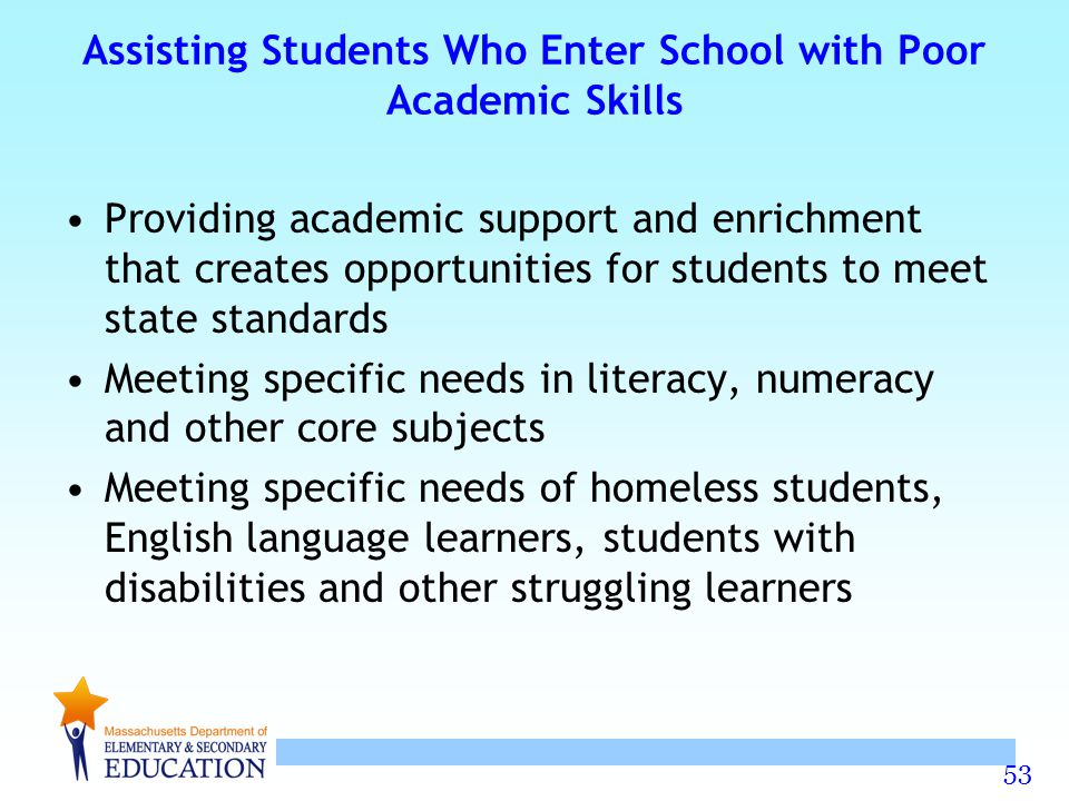 Assisting Students Who Enter School with Poor Academic Skills