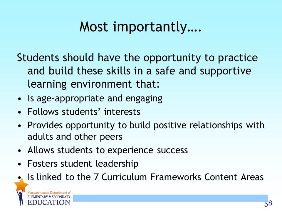 Most importantly…. Students should have the opportunity to practice and build these skills in a safe and supportive learning environment that:
