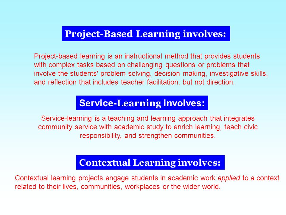 Project-Based Learning involves: