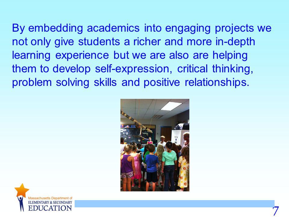 By embedding academics into engaging projects we not only give students a richer and more in-depth learning experience but we are also are helping them to develop self-expression, critical thinking, problem solving skills and positive relationships.