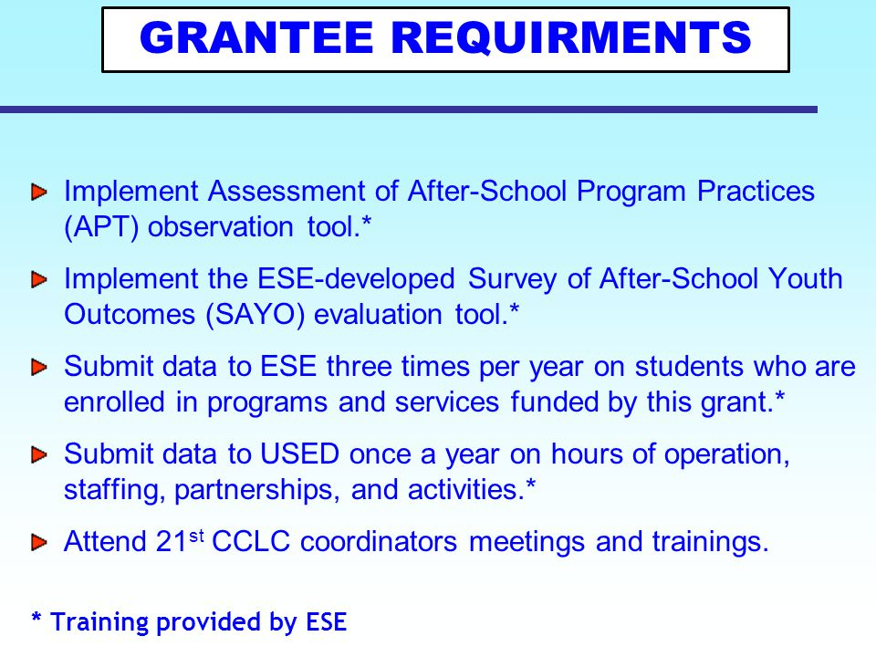 GRANTEE REQUIRMENTS Implement Assessment of After-School Program Practices (APT) observation tool.*