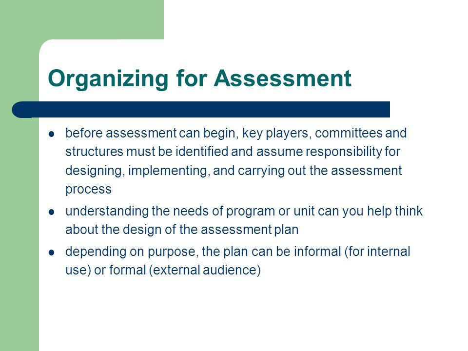 Organizing for Assessment